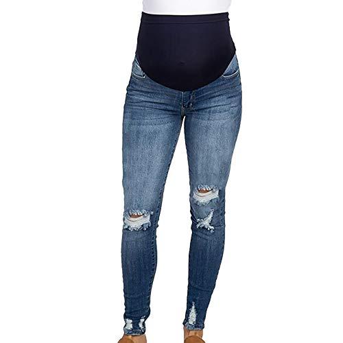 Tonsee Schwangerschaftshosen Damen Umstandshose Schwangere Jeanshosen Hohe Taille Umstandsmode Hose Mode Stretch Umstandsjeans mit Bauchband Leggings Denim Mutterschaft Hose (Blau, M)