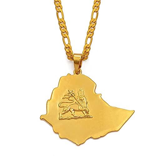 FDDSSYX Collar De Mapa,Creatividad Collar De Mapa del Mundo, Mujeres/Hombres Oro Color Etíope Mapas Bandera Colgante Cadena Encanto Hip Hop Novedad Hombres Collar para La Joyería De Fiesta Regalos