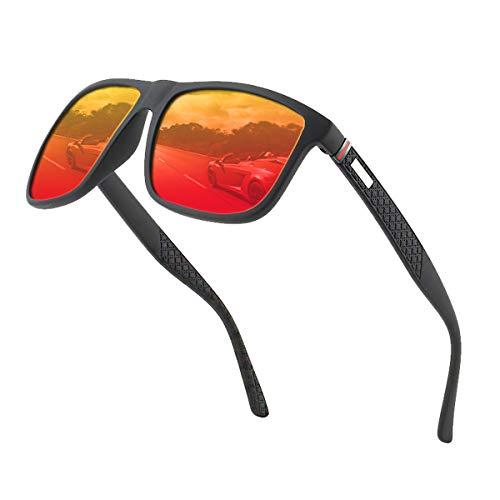 Polarisierte Sonnenbrille Herren /Damen ; Vintage / Klassisch/ Elegant Brillengestell; HD-Pilotobjektive; Golf / Fahren / Angeln / Reisebrille /Outdoor-Sportarten Mode Sonnenbrille (Rot)