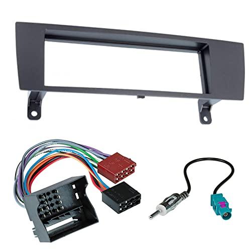 Sound-way Kit Montaggio Autoradio, Mascherina 1 DIN, Adattatore Connettore ISO, Adattatore Antenna compatibile con Serie 1/3 / X1 / Z4