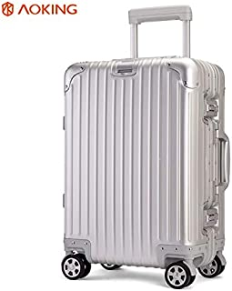 WHPSTZ Aluminum-Magnesium Alloy Trolley Case Universal Wheel 20 Inch Metal Trunk 24 Inch Aluminum Suitcase A Generation All Aluminum Trolley case (Color : Grey, Size : 20 inches)