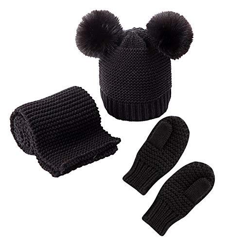 puseky 3-teiliges Baby-Wintermütze, Schal und Handschuhe, Strickmütze, Bommelmütze, Halswärmer Fäustlinge für 0–3 Jahre Jungen und Mädchen Gr. 0-3 Jahre, Schwarz
