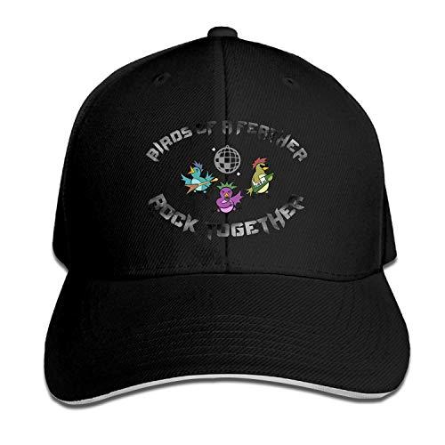 LUXNG Gorra de béisbol con diseño de pájaros de una Pluma Rock Together V de Colores completos, Gorras Personalizables para Camionero
