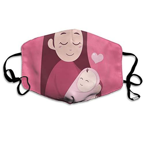 MundschutzAtmungsaktiveGesichtsmundabdeckungStaubdichter,Cartoon Style Mother Embracing Her Newborn Baby Love Affection,Gesichtsdekorationen