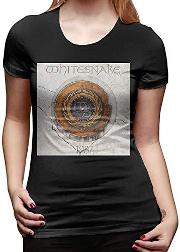 Camisetas y Tops Polos y Camisas, Whitesnake Camiseta Verano Lindo Manga Corta gráfico Vintage Camisetas para Mujer Tops Negro