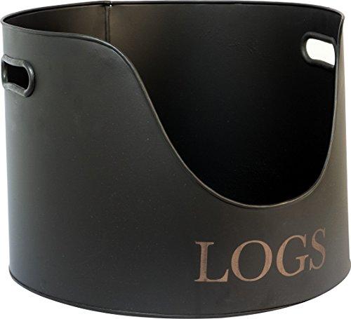Ivyline IRLH Round Iron Log Holder - Black