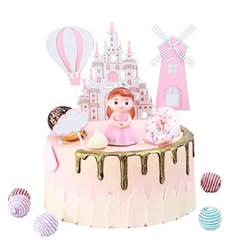 KATELUO Tortendeko Geburtstag, Kuchendeckel Topper, Cake Toppers Supplies Prinzessin, Burg, Luftballon, Wolken, Wolke für Kinder Mädchen Junge(Rosa)…