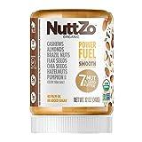 Organic Power Fuel Smooth Nut Butter by NuttZo | Seven Nuts & Seeds Blend, Paleo, Non-GMO, Gluten-Free, Vegan, Kosher | 1g Sugar, 6g Protein | 12oz Jar