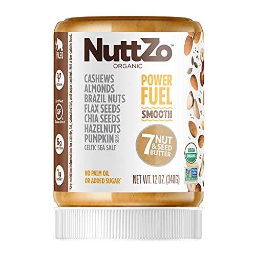Organic Power Fuel Smooth Nut Butter by NuttZo   Seven Nuts & Seeds Blend, Paleo, Non-GMO, Gluten-Free, Vegan, Kosher   1g Sugar, 6g Protein   12oz Jar