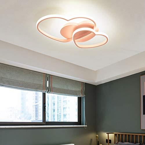 LED Deckenleuchte Dimmbar Wohnzimmerlampe, Modern Liebe Herz Design Acryl-Schirm Deckenlampe Metall Kronleuchter Für Esszimmer Schlafzimmer Bad Küche Decken Leuchten[Energieklasse A ],Rosa