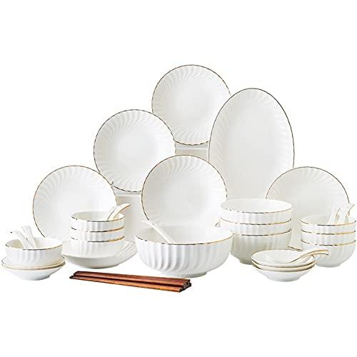 Karid De vajilla de Cocina, Platos y Cuencos Resistentes a Las roturas   Vajilla de Porcelana Blanca con Borde Dorado para reuniones Familiares y Regalos