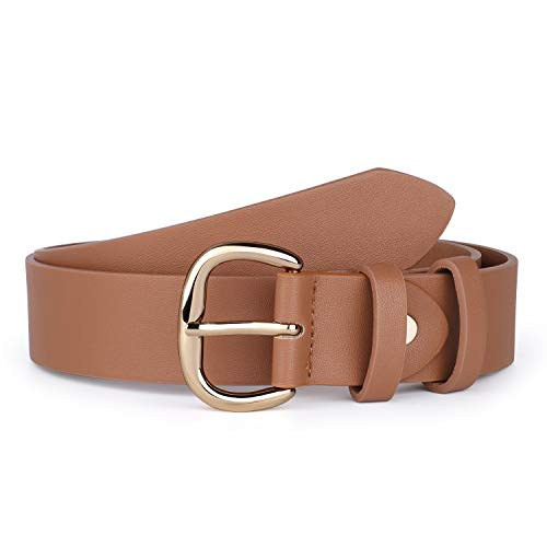 JASGOOD Women's Brown PU Leather Jeans Belt Casual Waist Belt for Pants Shorts with Gold Metal Buckle (D-Brown,Suit for pant size 35-38 Inch)
