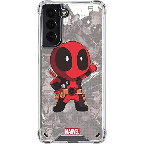 Skinit Clear Phone Case Compatible with Samsung Galaxy S21 5G - Officially Licensed Marvel Deadpool Hello Design