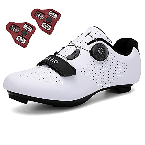 GENAI Men Road Bike Shoes Women Cycling Shoes Included Look Cleats(Combination Set) Compatible with Look SPD/SPD-SL for Outdoor/Indoor Cycling Exercise Shoes White