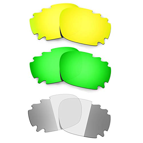 HKUCO 24K Gold/Emerald Green/Transition/Photochromic Polarized Replacement Lenses For Oakley Racing Jacket Vented Sunglasses