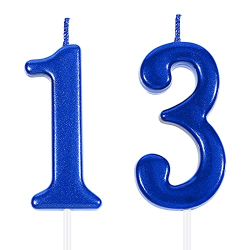 13th Birthday Cake Numeral Candles Cake Topper Happy Birthday Blue Cake Decoration for Party Favor Wedding Anniversary Celebration Supplies