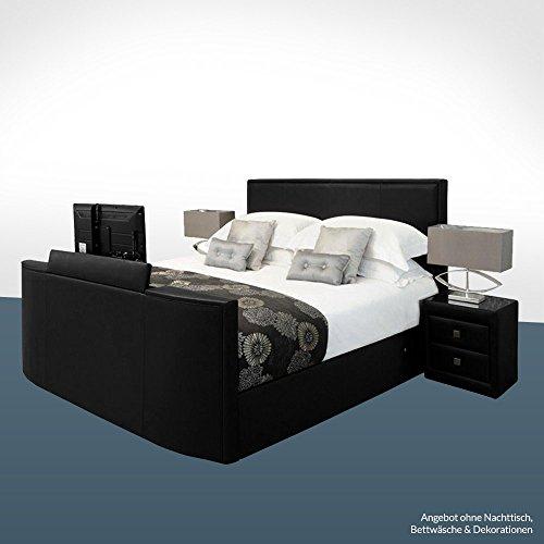 bellvita Elektrisch verstellbares BOXSPRINGBETT mit Echtleder-Bettrahmen und versenkbarem Flat-TV inkl. Lieferung und Aufbau durch Fachpersonal, 200cm x 220cm (schwarz)