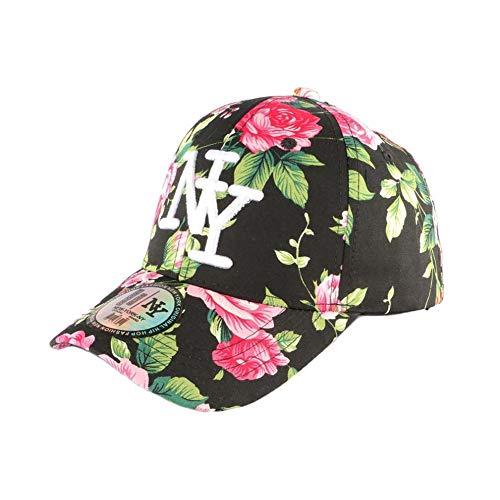 Gorra NY negra y roja floral béisbol Fashion Bora – Unisex Negro Talla única