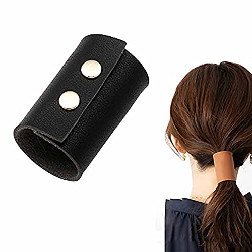 Ponytail Leather Cuffs for Women's Hair - Leather Cuff Ponytail Holder, Leather Ponytail Holder for Motorcycles, Hair Accessories for Women and Girls (Black)