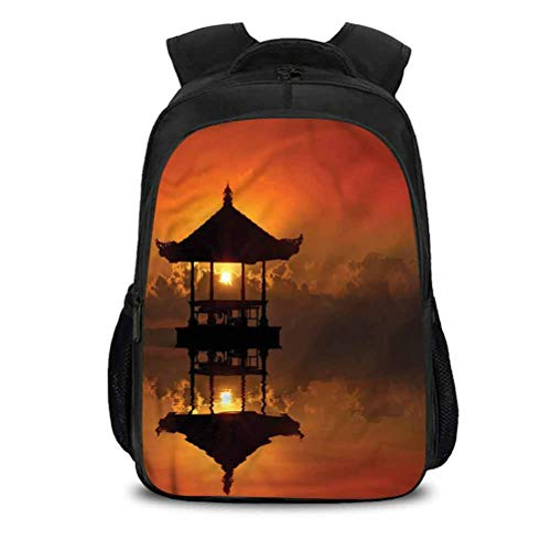 College Backpack, Balinese Sunset Bali Beach Bungalow, School Bag Teenager Casual Sports Backpack 15.7x10.6x6.69 Inch