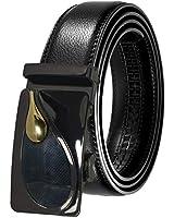 KSENIA Men's Genuine Leather Ratchet Dress Belt Automatic Buckle Black Elegant Gift Box BK08