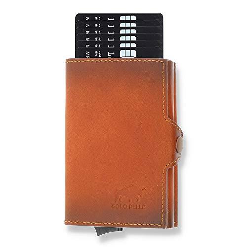 Solo Pelle Kartenetui | Kreditkartenetui | Leder Geldbörse Slim Wallet Portmonee | Geldbeutel mit RFID Schutz für bis zu 11 Karten Model: Mech (Cognac Braun mit Scheinfach + Münzfach)