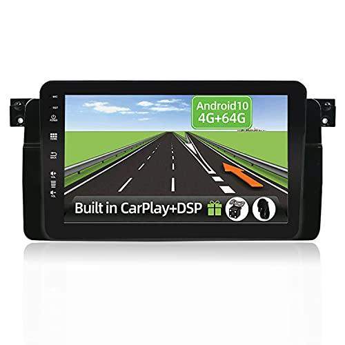 YUNTX Android 10 2 DIN Autoradio Fit for BMW E46/M3/3 Series(1998-2005)-4G+64G- [Integrado CarPlay/Android Auto/DSP/GPS]-8 Core-4 LED Cámara&Mic-Soporte Dab/Control del Volante/Arranque rápido/BT 5.0