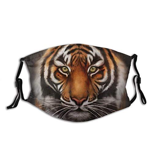 135 Tiger Stare-Face M-A-S-K Pasamontañas, filtro de polvo, transpirable, lavable, adulto, unisex, color negro, Tiger Stare, Talla única