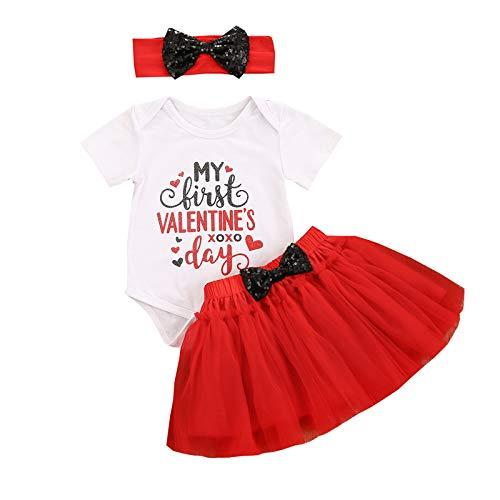 Frobukio Mameluco de algodón para niñas recién nacidas con diseño de «My First Valentine's Day», falda de tul y diadema de lentejuelas.