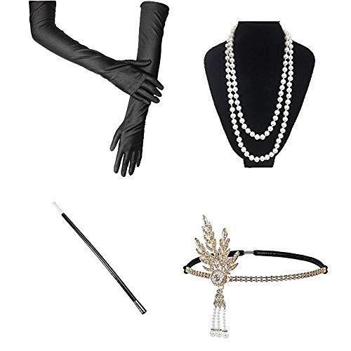 InnoBase Disfraces de Roaring 20s 1920's Gatsby Accesorios para Disfraz de charlestón (Venda para el Pelo, Arete, Collar de Perlas, Canastilla de cigarro, Guantes), Color Negro (C03)