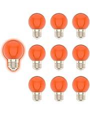 E27 G45 1W gekleurde gloeilamp, oranje, geschikt voor kerstdecoratie, tuindecoratie, etc-10 stuks
