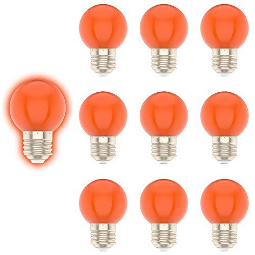 E27 G45 1W Farbige Glühbirne, Orange, Geeignet für Weihnachtsdekoration, Gartendekoration, etc-10er Pack