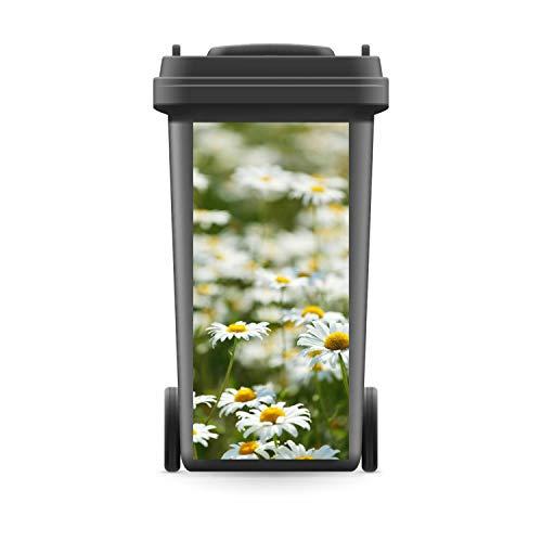 WERBEPUNKT. Mülltonnenaufkleber Mülltonne Mülleimer Abfalltonne Wiese Blumen Margeriten- 720 x 320 mm
