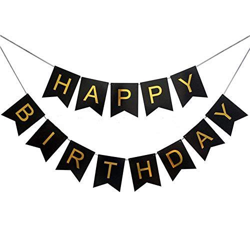 Haobase Happy Birthday Banner Geburtstag Girlande Party Dekorationen (Schwarz)