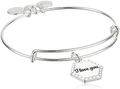Alex and Ani Because I Love You Expandable Wire Bangle Bracelet for Women I Love You Charm Shiny product image
