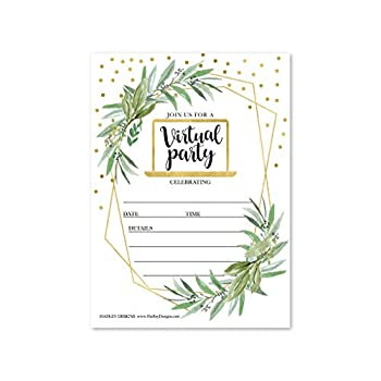 25 Gold Greenery Virtual Invitations Reschedule Wedding Rehersal Dinner Invite Fill in Online Bridal Shower Vow Renewal Quinceanera Grad Party Kids 1st Birthday Boy or Girl Baby Gender Reveal