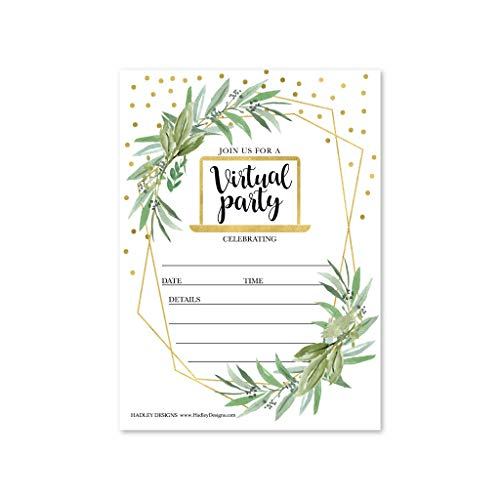 25 Gold Greenery Virtual Invitations, Reschedule Wedding Rehersal Dinner Invite, Fill in Online Bridal Shower, Vow Renewal, Quinceanera, Grad Party, Kids 1st Birthday, Boy or Girl Baby Gender Reveal