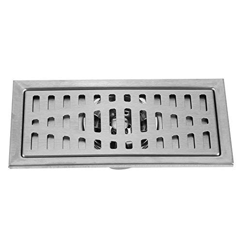 Rechteck Duschablauf 20x10cm Rechteck Edelstahl Bodenablauf Bad Dusche Küche Abfallgitter mit abnehmbarem Filter