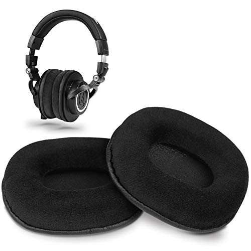 YOCOWOCO Almohadillas de repuesto de microgamuza compatibles con auriculares Audio Technica ATH M50X/M50/M40X/M40/M30X/M20X, color negro
