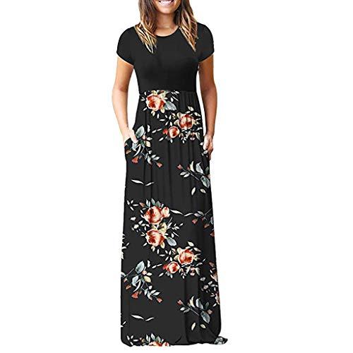 LOPILY Damen Sommerkleider Böhmischen Strand Blumendruck Bodenlänge Maxikleid Abendkleider Herrlich Blüte Drucken Hoher Taille Kleider Partykleid Sommer T-Shirt Kleid(X3-Schwarz,DE-38/CN-M)