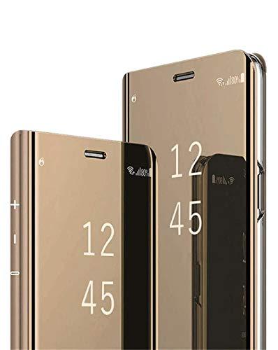 Jacyren Funda compatible con Samsung Galaxy A42, funda de piel con tapa para Galaxy A42, efecto espejo, 360°, policarbonato, transparente, antigolpes, función atril A42 (dorado)