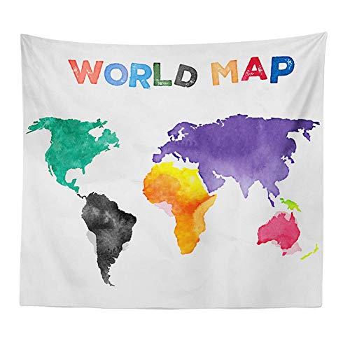 Tapiz para colgar en la pared, diseño de mapa del mundo, impresión digital, decoración del hogar para sala de estar, dormitorio, dormitorio