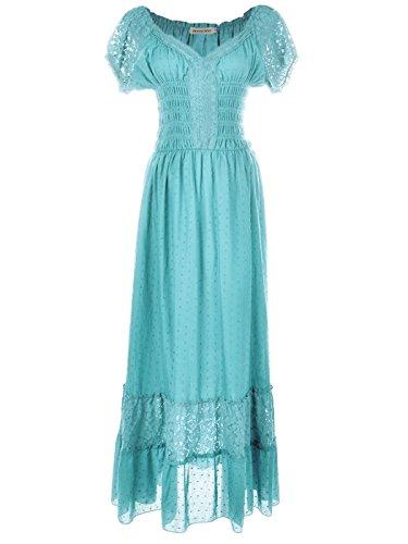 Anna-Kaci Renaissance Peasant Maiden Boho Inspired Cap Sleeve Lace Trim Dress, Light Blue, XX-Large