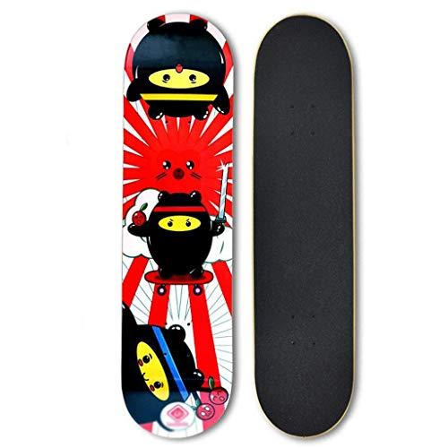 LDDLDG Skateboard niño Patinetas completos, 31 Pulgadas Pro monopatín for niños/niñas/jóvenes/Adultos, Trucos del Tablero del patín for Principiantes y Pro, 7 Capas de Arce Canadiense (Color : Red)