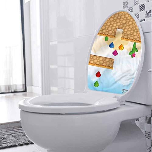 Adhesivos de inodoro impermeables para habitación de niños, desierto con figuras decoración de la casa papel pintado 3D WC divertido baño asiento decoración 35 x 35 cm