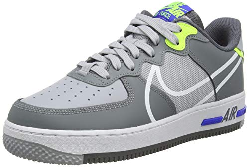 Nike Air Force 1 React, Scarpe da Basket Uomo, Wolf Grey/White-Smoke Grey-Dark Grey, 41 EU