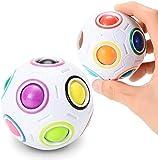 Twister.CK 2 Piezas Bola mágica del Arco Iris desafiante Juguete Cubo Puzzle Fidget 3D Inteligencia Bola esférica Estilo esférico aliviar Bola para niños