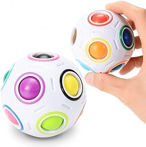 2 Piezas Bola mágica del Arco Iris desafiante Juguete Cubo Puzzle Fidget 3D Inteligencia Bola esférica Estilo esférico aliviar Bola para niños