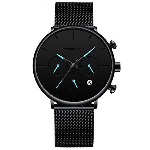 Reloj de pulsera para hombre, ultrafino, minimalista, resistente al agua, con correa de acero inoxidable.