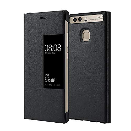 MOONCASE Klappetui Leder Tasche Schutzhülle Hülle Flip View Cover für Huawei P9 Plus Schwarz